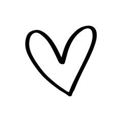 Continuous lines. Funny doodle hearts icons collection. Hand drawn Valentines day, wedding design
