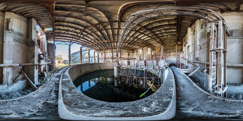 In de dag Oude verlaten gebouwen Full spherical seamless hdri panorama 360 degrees angle view concrete structures of abandoned ruined building of cement factory in equirectangular projection with zenith and nadir, VR AR content