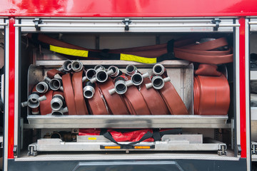 Details of water pipes on fire engine