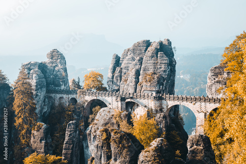 Wall mural Scenic image of Elbe Sandstone Mountains. Location Saxony Switzerland national park, East Germany, Europe.