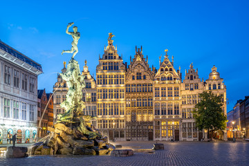 Grote Markt of Antwerp at night in Antwerp, Belgium