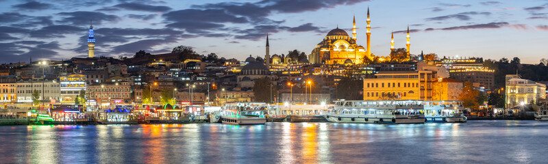 Wall Mural - Panorama view of Istanbul port in Istanbul city, Turkey