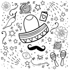 Mexican coloring Party Elements. Collection objects for Cinco de Mayo. Doodle elements. Heart, arrow, , star - Vector.