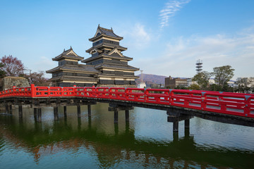 Wall Mural - Blue nice sky with view of Matsumoto Castle in Nagano, Japan