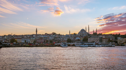 Wall Mural - Sunset view of Istanbul port in Istanbul city, Turkey