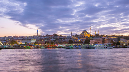Wall Mural - Twilight view of Istanbul port in Istanbul city, Turkey