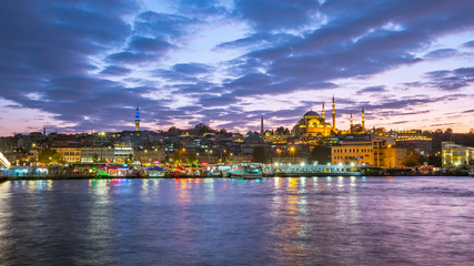Wall Mural - Night view of Istanbul port in Istanbul city, Turkey