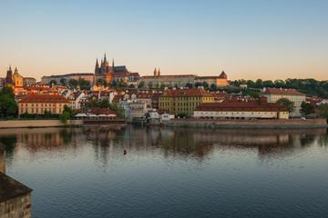 Wall Mural - Vltava River and Prague city skyline in Czech Republic