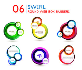 Circle backgrounds set, round swirl abstract banners or technology logo circular designs.