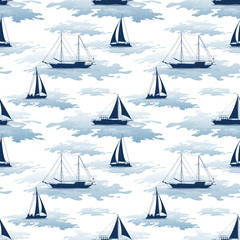 Seamless Pattern, Sailboats Ships and Yachts Silhouettes in the Sea with Symbolical Blue Waves. Vector