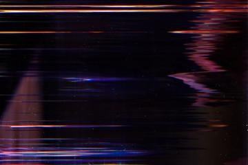 Obraz Display damage. Digital error. Glowing lines effect on dark background. - fototapety do salonu