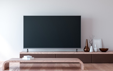 TV with a blank screen on a wooden table, minimalist furniture in the room with daylight from the window. 3d rendering Fototapete