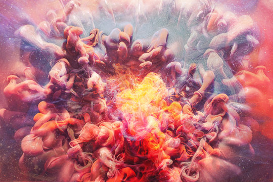 Fume creative background. Boiling molten lava. Orange smoke effect.