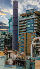 Fototapete - Industrial Machinery and Smokestack in Seattle Washington