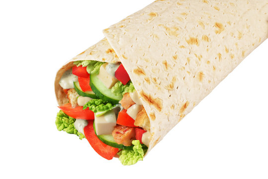 Wrap sandwich isolated on white background