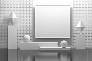 Pure white mock up indoor interior composition with empty blank picture frame, pedestals, pillars, rhombuses and balls. 3d illustration.