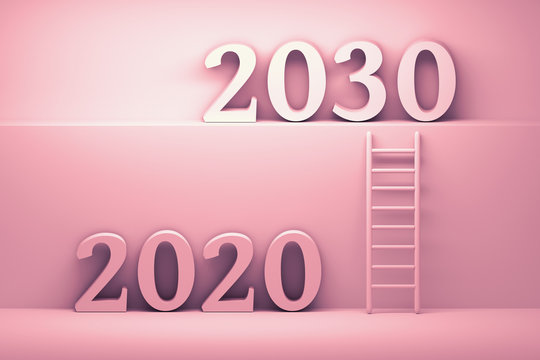 Concept transition from 2020 to 2030 in pink colors. Future development business concept illustration. Ladder standing next to wall leading from year 2020 to year 2030. 3d illustration.