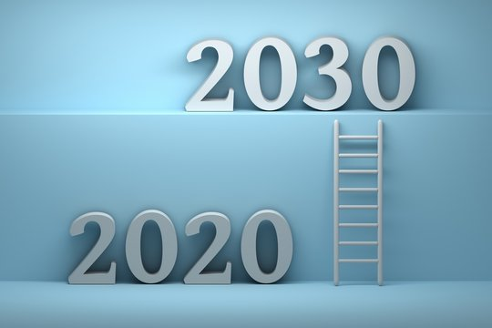 Concept way from 2020 to 2030 - future development business concept illustration. Ladder standing next to blue wall leading from year 2020 to year 2030. 3d illustration.