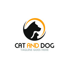 template logo cat and dog in circle