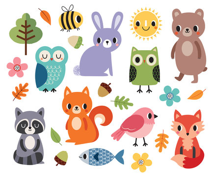 Vector set of cute forest animals and birds, flowers and autumn leaves, isolated on white. Cute colorful elements for baby shower, children, fall and autumn, Thanksgiving, stickers and patches.