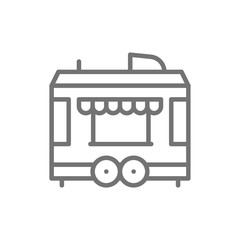 Food trailer line icon. Isolated on white background