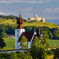 Fototapete - church in Zehra and Spis castle, Slovakia
