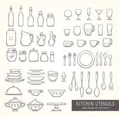 Hand drawn kitchen household