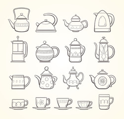 Hand drawn teapots and cups collection