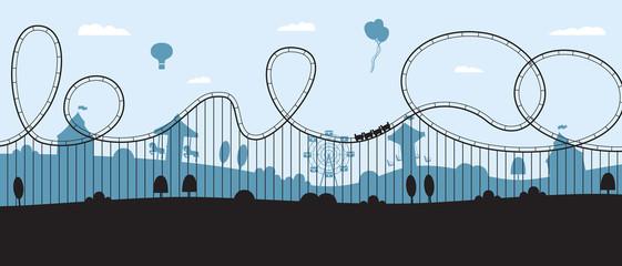 Rollercoaster banner - flat cartoon amusement park skyline silhouette