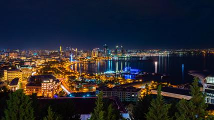 Fotobehang Kiev Wide panorama of night Baku city