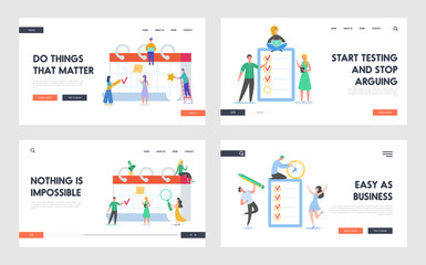 Business People Working Together with Checklist and Calendar Landing Page. Tiny Characters Completing Business Tasks List. Man and Woman with Reminder and Schedule for Website. Vector illustration