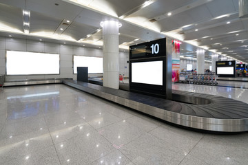 Luggage check-in conveyor belt in airport terminal Wall mural