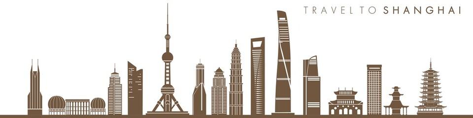 shanghai skyline with illustration