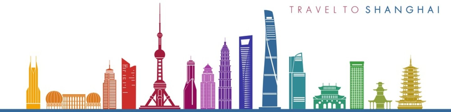 Travel to shanghai. Building silhouettes