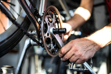Fixing the bicycle problem in workshop stock photo