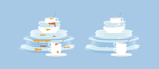 Dirty and clean dishes plates flat cartoon vector illustration isolated.