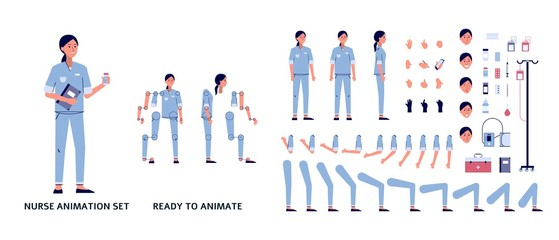 Nurse in uniform character set of body parts flat vector illustration isolated.