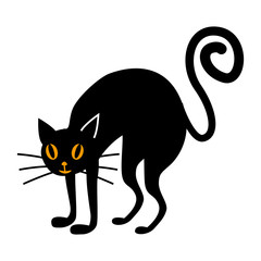 Halloween black cat flat single icon. Halloween symbol of fear and danger