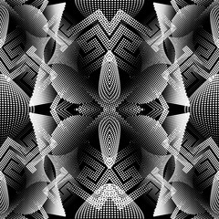Halftone dotted geometric 3d vector seamless pattern. Abstract textured greek background. Repeat backdrop with circles, dots, points, shapes. Meanders digital ornament. Surface ornate texture.