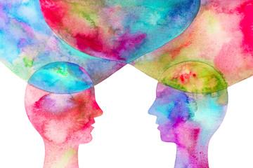 disegno grafico due persone se si scambiano le idee sfondo bianco