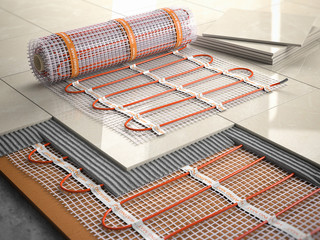 Underfloor heating installation concept. Mat elecric heating system with ceramic tiles and cement layers. Wall mural