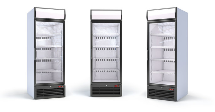 Fridge with glass door isolated on white. Set of empty showcase refrigerators in the grocery shop.