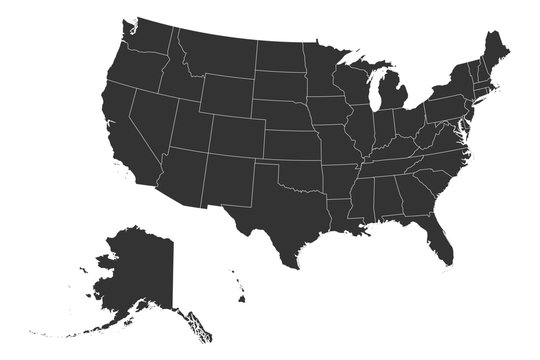 US map with boundaries vector illustration