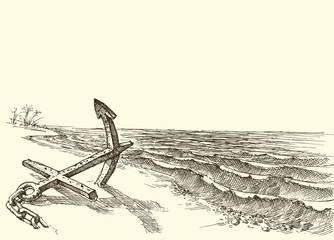 Old anchor in the sand on an empty beach vector drawing