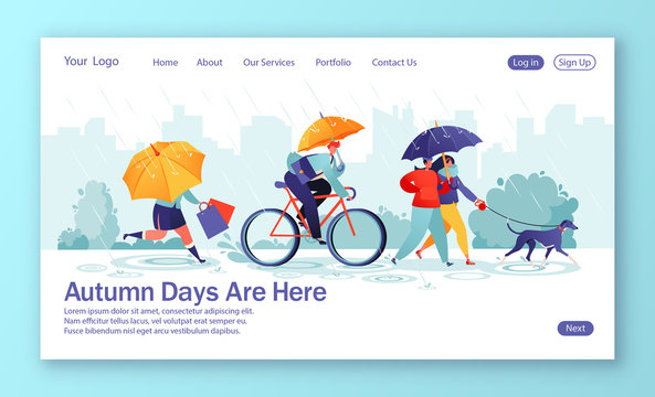 Concept of landing page with flat people characters walking under umbrella on autumn rainy day. Сouple walks dog, woman run with shopping purchases, businessman riding bicycle.Template for web design