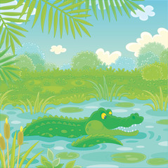 Big green crocodile swimming in blue water of a lake under palm branches in tropical jungle, vector illustration in a cartoon style