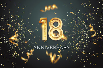 Golden numbers, 18 years anniversary, adulthood on a dark background and confetti. celebration template, flyer. 3D illustration, 3D rendering.