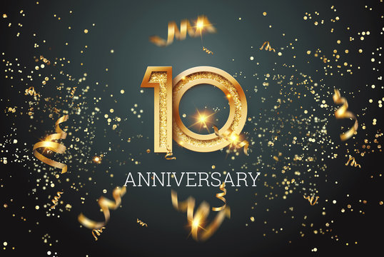 Golden numbers, 10 years anniversary celebration on dark background and confetti. celebration template, flyer. 3D illustration, 3D rendering