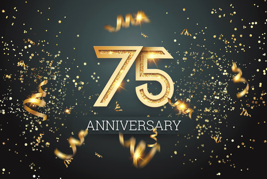 Golden numbers, 75 years anniversary celebration on dark background and confetti. celebration template, flyer. 3D illustration, 3D rendering