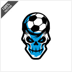 Soccer skull Head Logo Vector